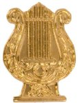 Gold Music Lyre Metal Chenille Letter Insignia Custom Lapel Pins