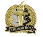 Bright Gold Academic A Honor Roll Lapel Pin Lapel Pins