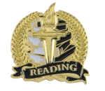 Bright Gold Academic Reading Lapel Pin Lapel Pins