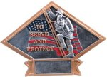 Firefighter Diamond Plate Resin Patriotic Awards